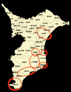 このルポの中に出てくる市町村一覧 (赤丸で囲んだところ)。