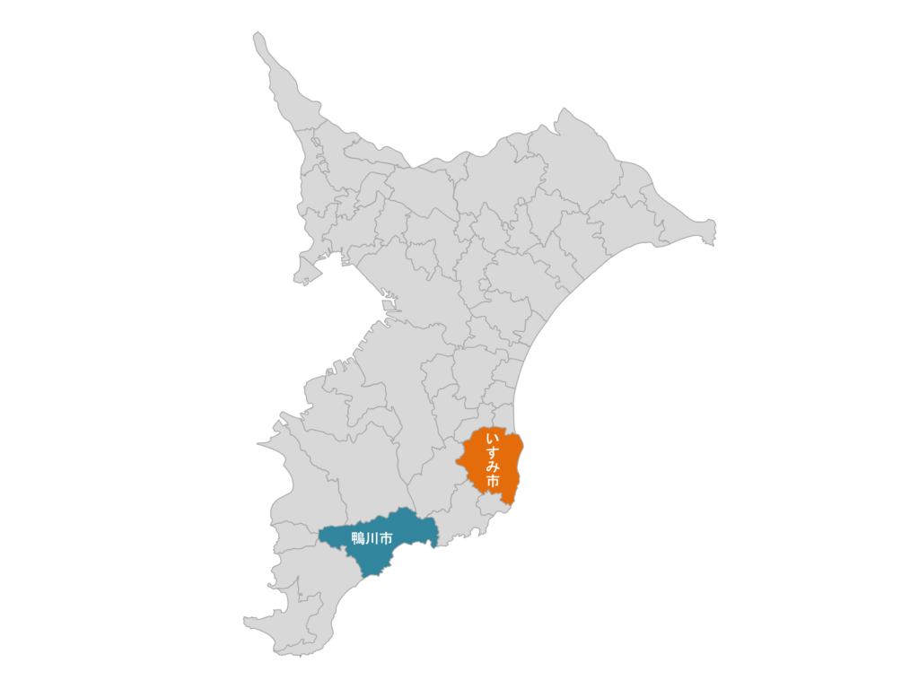 いすみ市の場所。鴨川市とは隣の隣という位置関係。