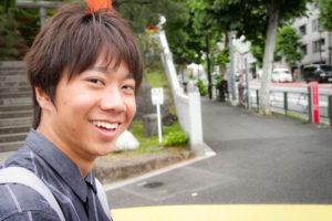 同志社大学からの留学生の神谷龍さん。現在は文化構想学部の2年生として早稲田大に通う。